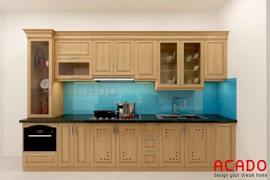 Mẫu tủ bếp bằng gỗ tự nhiên bền đẹp