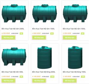 Bảng giá bồn nước nhựa toàn mỹ