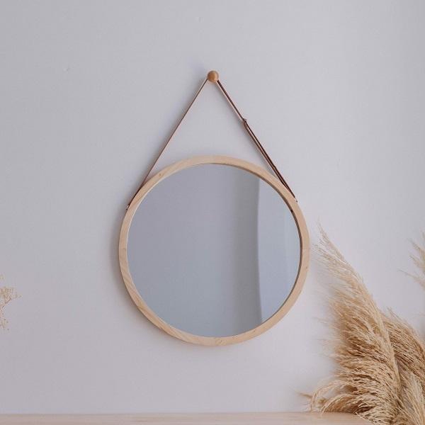 Gương trang điểm treo tường Mirror Circle màu gỗ tự nhiên