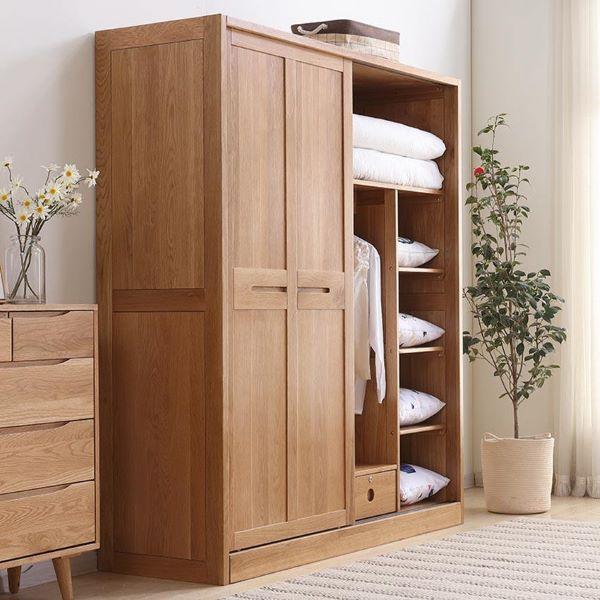 Tủ quần áo gỗ sồi nhỏ gọn chiều cao thấp vô cùng dễ thương