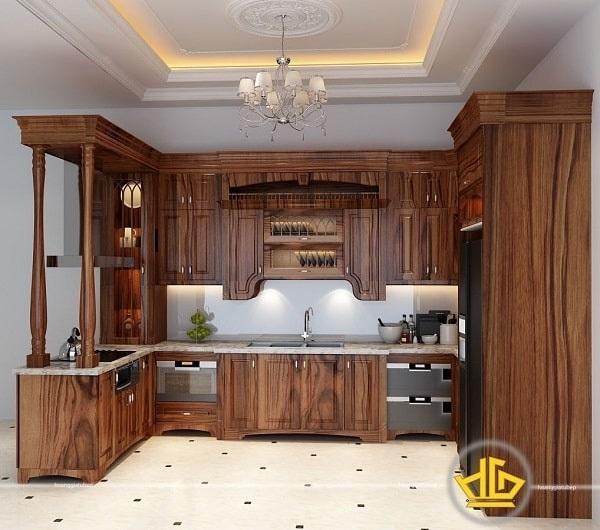 Tủ bếp gỗ cẩm lai hiện nay