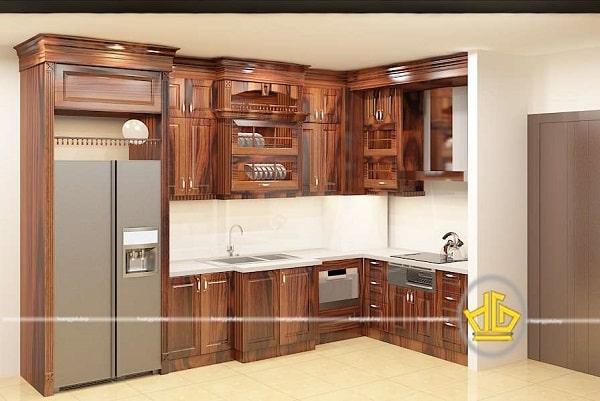 Tủ bếp gỗ cẩm lai sử dụng phổ biến