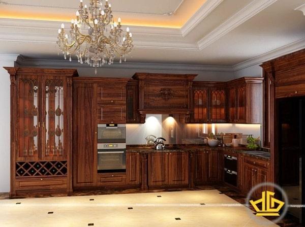 Tủ bếp gỗ cẩm lai bán ở Nội thất Hoàng Gia